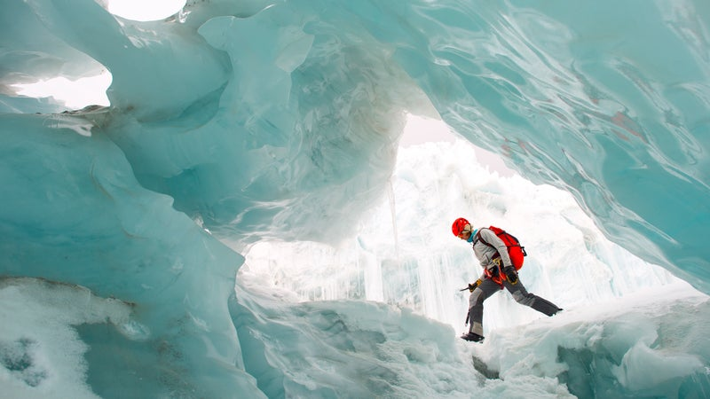 The North Face athlete Hilaree O'Neill in an ice cave in the Langtang Valley.