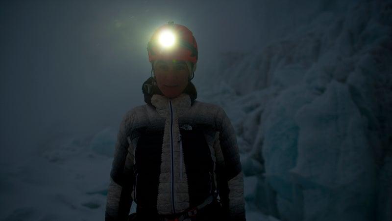 Hillaree O'Neill deep inside the same icefall.