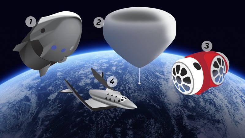 Clockwise from top left: SpaceX, Zero2Infinity, World View, Virgin Galactic.