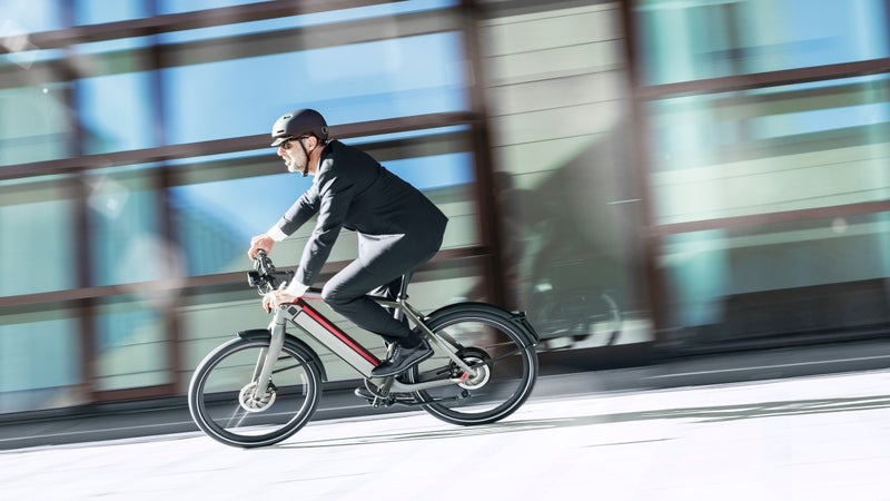 Andrew Tilin (not shown) rode the 61-pound loaner e-bike around Austin for a month.