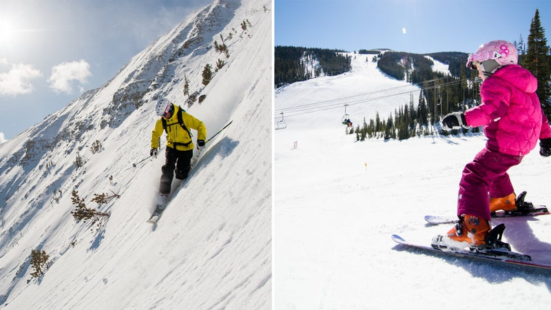 From left: Free-heeling Big Sky steeps; pizza party.