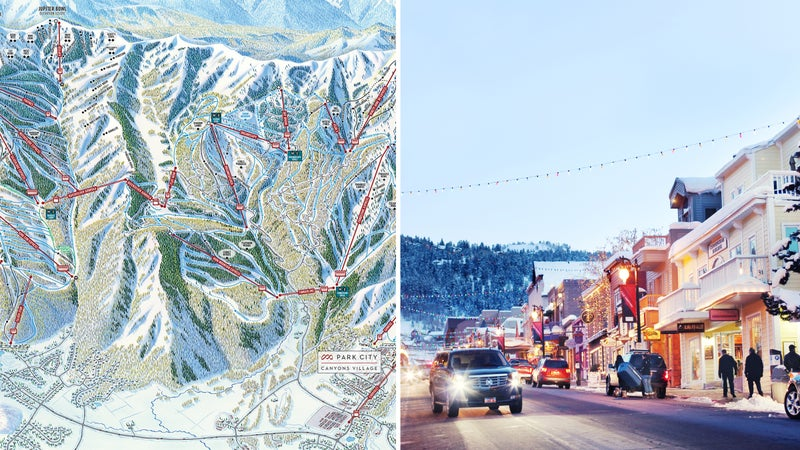From left: Glimpse of the mega-map; Downtown Park City.