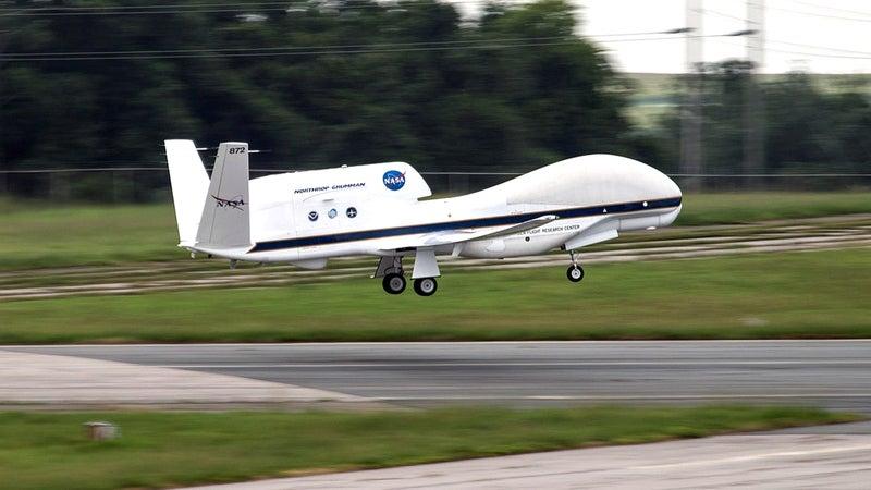 NASA's Global Hawk aircraft taking off.