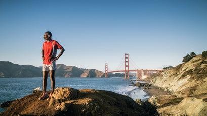 Jones on the Bay Area Ridge Trail near the Golden Gate Bridge. When complete, the Ridge Trail will connect 550 miles around the San Francisco Bay.