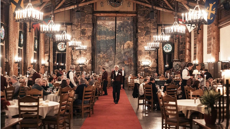 A dining hall inside the Ahwahnee Hotel in Yosemite.