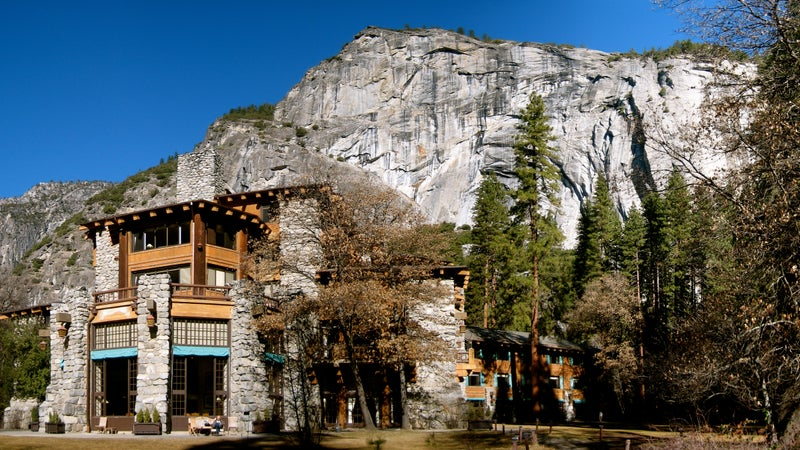The exterior of the Ahwahnee Hotel in Yosemite.