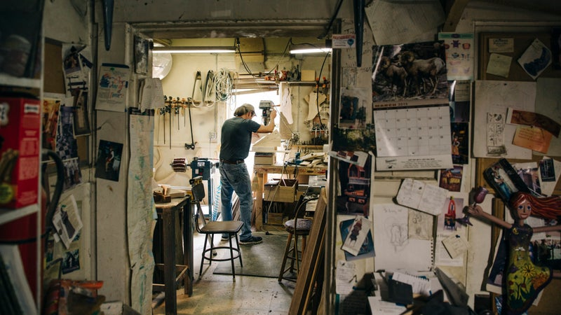Paul in his woodworking shop, located on the first floor of his house in Dover-Foxcroft, Maine.