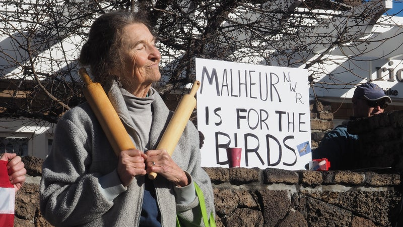 A member of the Great Old Broads for Wilderness protesting in downton Bend, Oregon, on January 15, 2016.