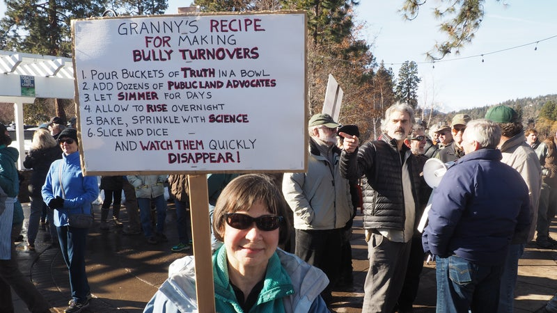 Donna Harris joined the protest in Bend, Oregon.