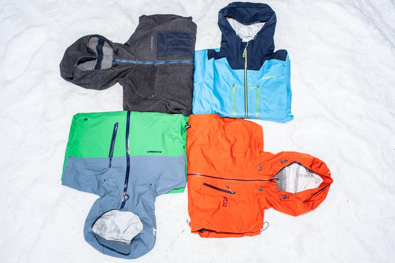Clockwise from upper left: Voormi Fall Line, Patagonia Reconnaissance, Stio Snotel, Mammut Alvier HS Hooded Jacket.