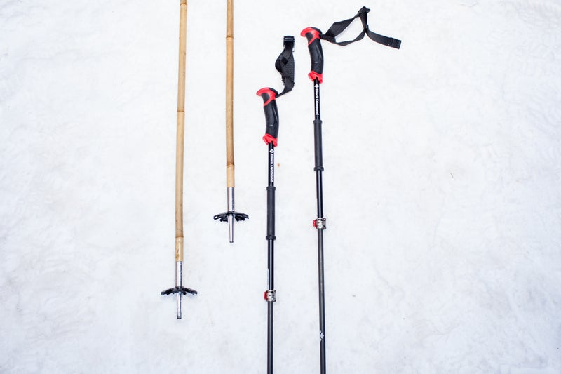 Soul Poles, left, and the Black Diamond Razor Ski Poles.