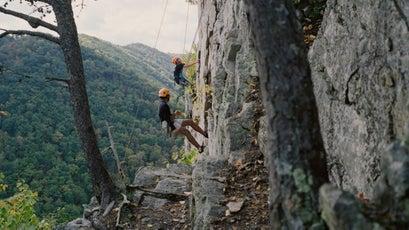Students ascending a pitch at Seneca Rocks, West Virginia.