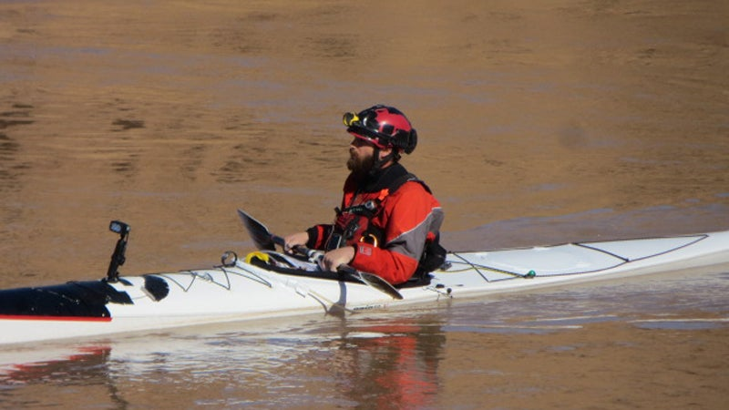 Ben Orkin nears the end of his paddle record on the Colorado River.