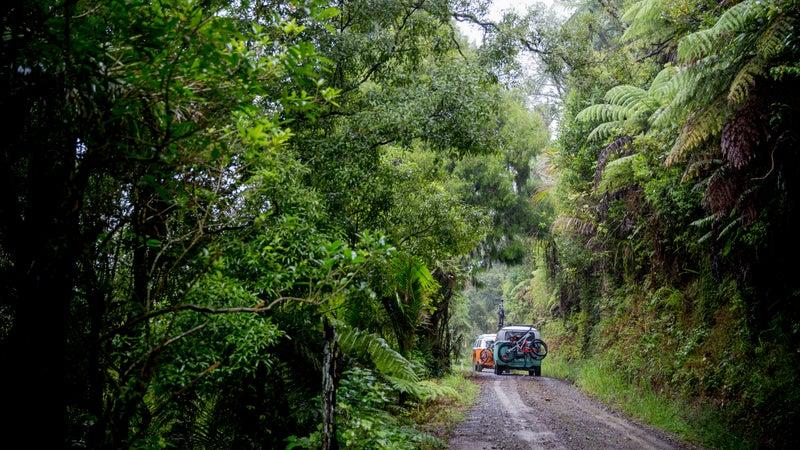 Camper vans on a back road.