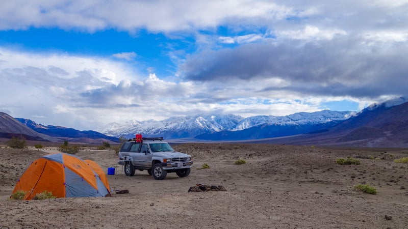Saline Valley Hot Springs in Death Valley National Park. The not-a-road in is easy but prone to washouts and extreme snow accumulation. Our 4Runner will never get inextricably stuck.