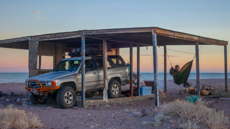 A beach shack in Baja. With the Cooper Discoverers, the 4Runner was able to cross soft sand that would have waylaid most anything else.