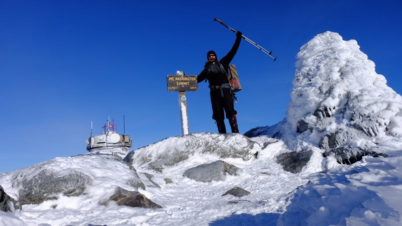 Gathman summited Mt. Washington on a rare mild and sunny day in early January.