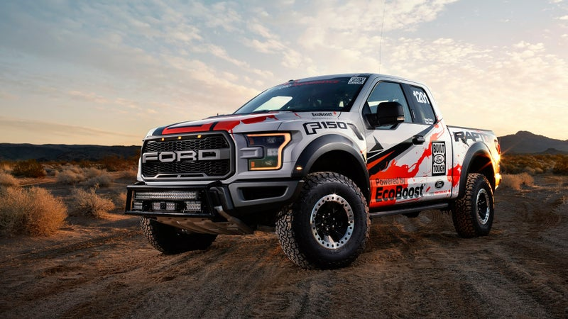 Flashy graphics are the only visual clue that this is a race truck. Even the 17-inch beadlock wheels and BF Goodrich K02 tires come from the production vehicle.