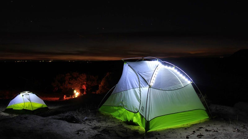 Tents fitted with the Big Agnes mtnGLO LEDs really do look cool at night.