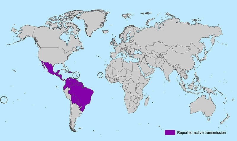 Countries and Territories with active Zika transmission.