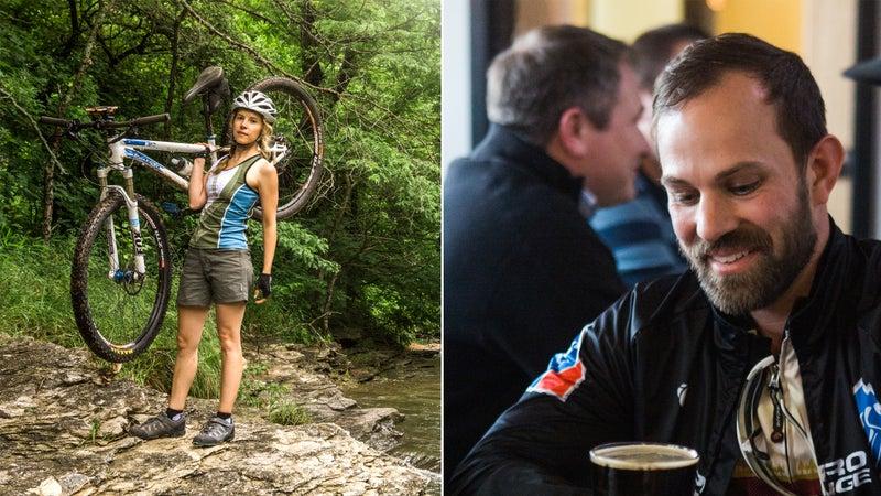 From left: Riding in Arkansas; Bentonville's Bike Rack Brewery.