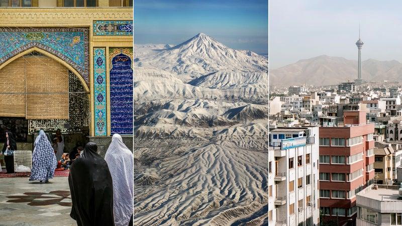 From left: The mosque at Tehran's Grand Bazaar; Mount Damavand; Tehran cityscape.