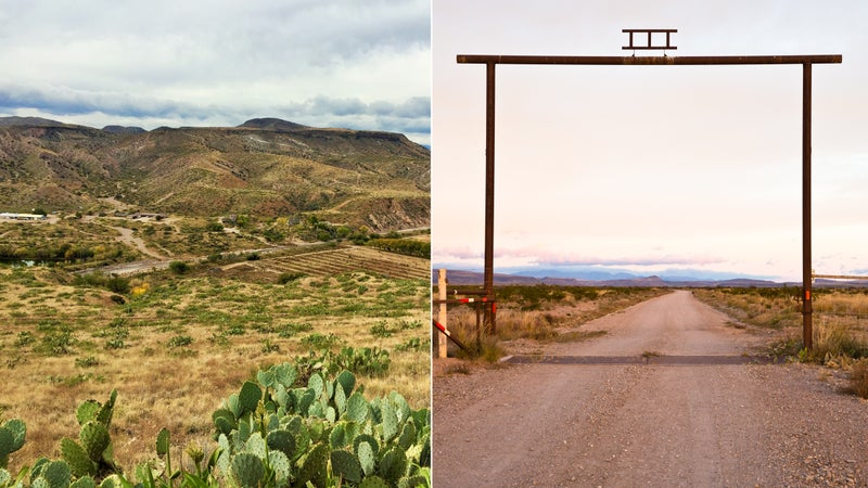 From left: New Mexico's Gila Mountains; The gate at Ladder Ranch.