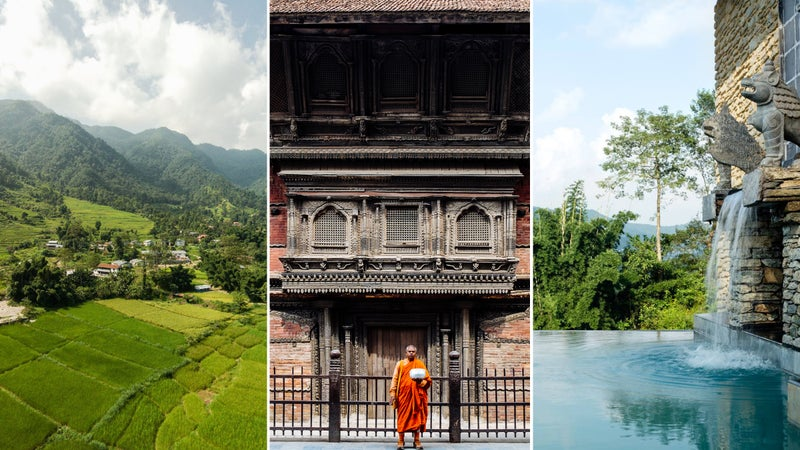 From left: Valley views at Pavilions Himalayas; A monk at Durbar Square in Kathmandu; Afternoon dip.