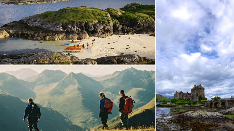 Clockwise from top left: A beach near Arisaig; Highlands hike; Eilean Donan Castle.
