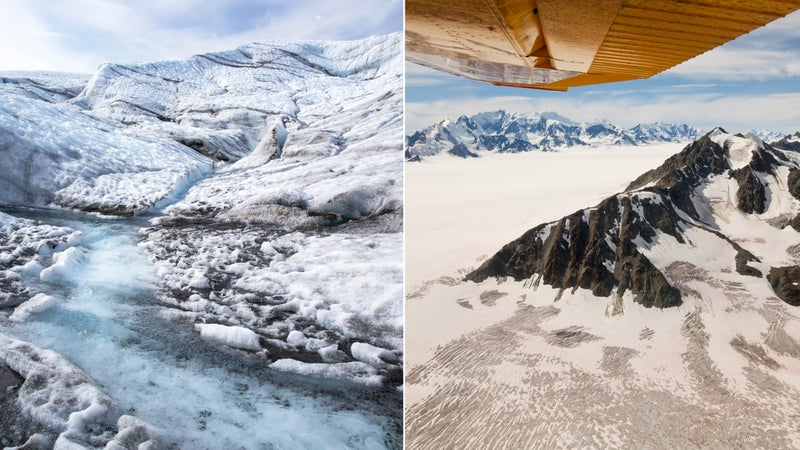 From left: Root Glacier; Bagley Icefield, Wrangell-St. Elias.
