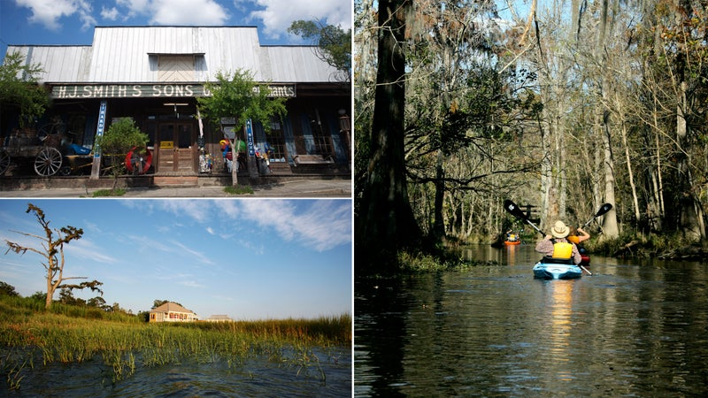 Clockwise from top left: Downtown Covington; Louisiana paddling; Northshore cabin.