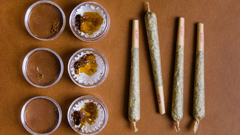 Samples of prerolled joints and concentrated oils available at Silverpeak Apothecary.
