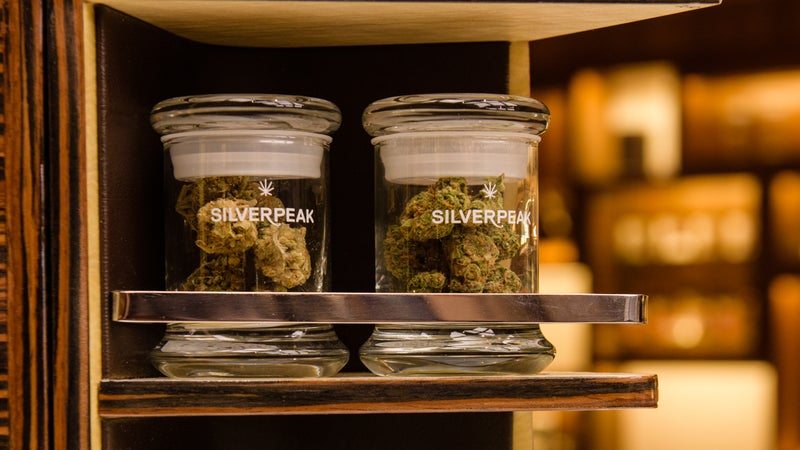 Marijuana samples in the retail store.