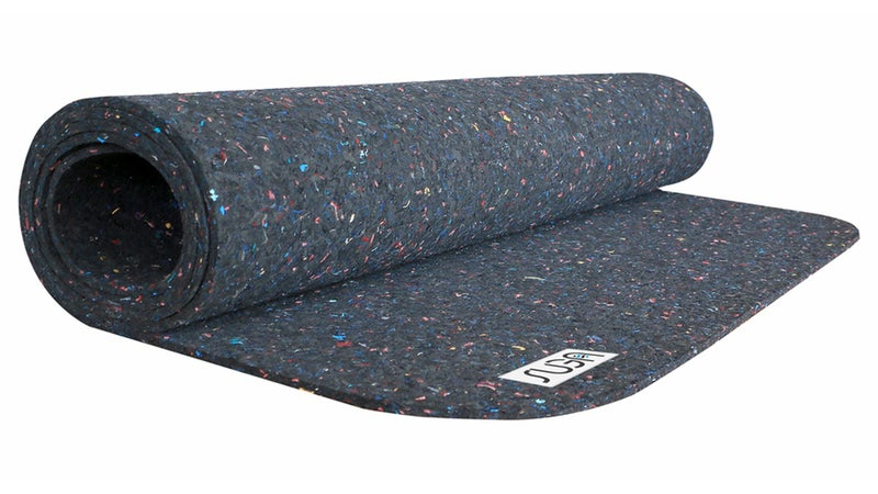 The Suga yoga mat—made from recycled, nonbiodegradable neoprene wetsuits—has a pleasingly dense and tacky feel.
