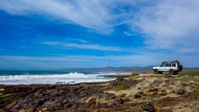 Northern Baja's Pacific coast is covered with steep cliffs leading down to crashing seas. Little beaches are interspersed here and there, many with solid surf breaks. You can access most by 4x4.