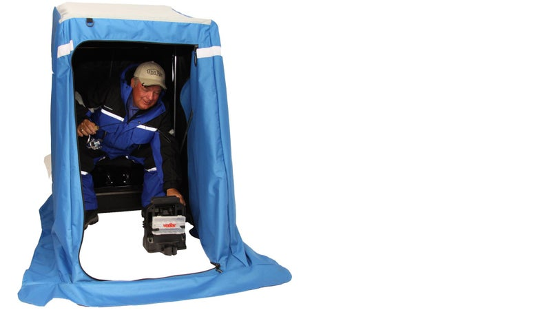 Portable shelters like this one from Clam pack the comfort of a shack into a sled you can drag around behind you.