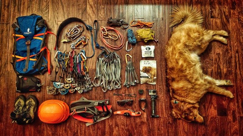 Chris' gear dump before a trad climb.