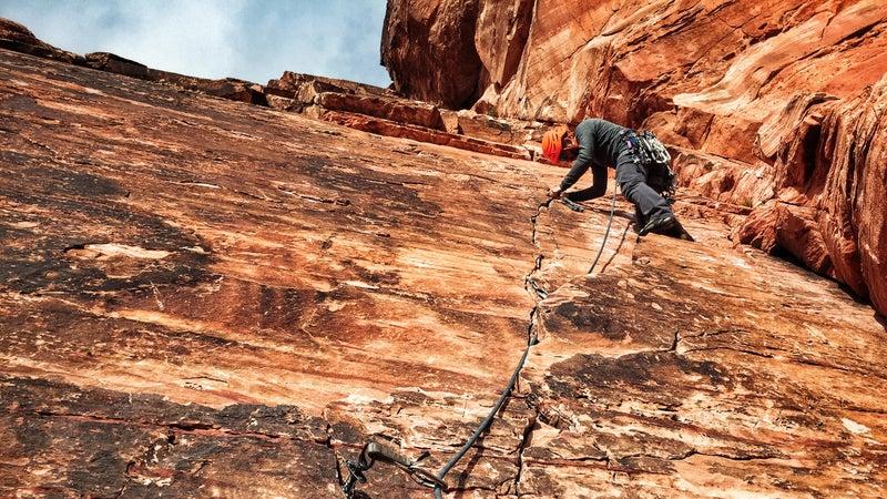 Chris Brinlee Jr. leads a trad climb.