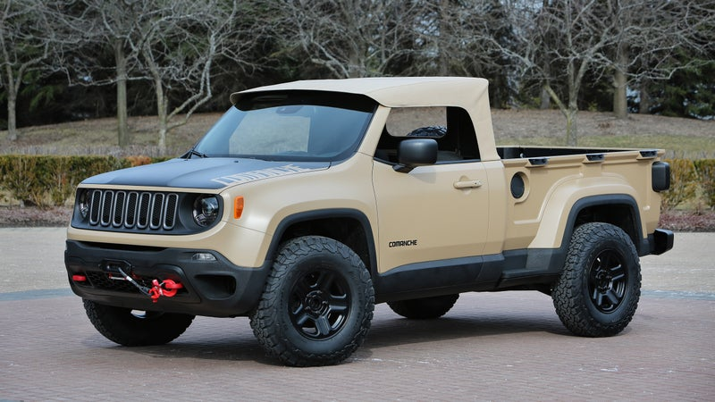The Comanche concept attaches a pickup bed to the compact Renegade SUV. We won't be getting a Renegade pickup, but that platform may see future development.