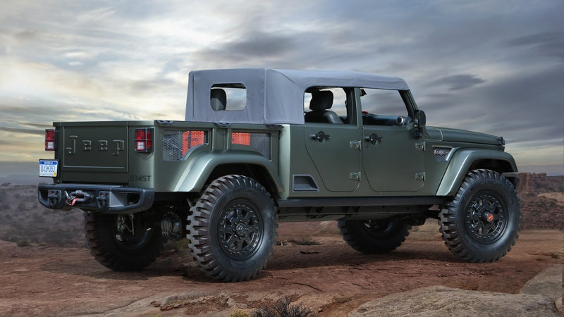 The next Jeep Wrangler will include a pickup truck somewhat similar to this Crew Chief concept, but will do without that stamped logo on the tailgate. Look beyond the concept car frippery and faux military tchotchkes and you might just see your next truck.