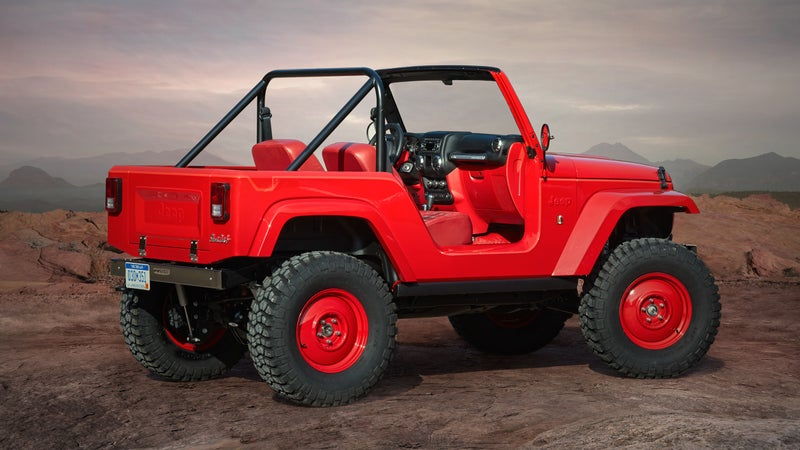 The Shortcut cuts the overhangs off the current Wrangler and wraps it in retro, CJ-style styling. Allen says retro isn't a direction Jeep will be going in for these upcoming products.
