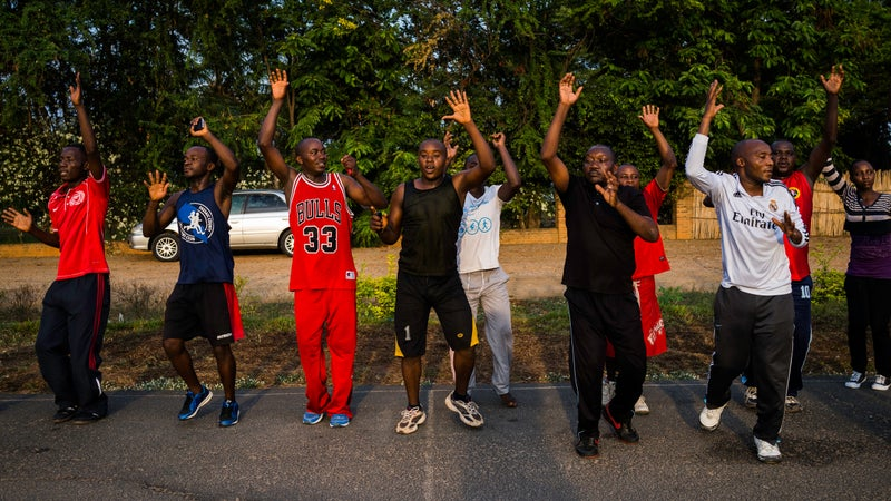 Working out at Tempete Playground in Bujumbura. The city's jogging clubs are restricted to designated areas.