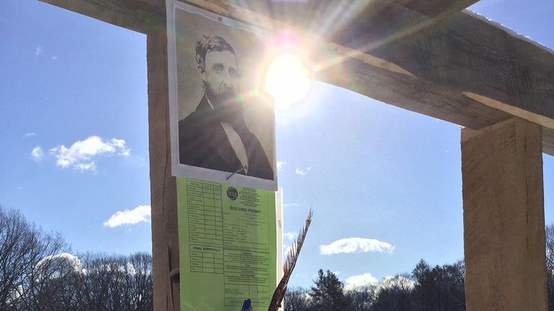 A portrait of Henry David Thoreau hangs in the completed cabin frame.