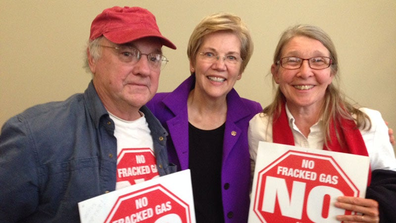 Elwell and his wife met Elizabeth Warren at the speech where she came out in opposition to fracking in Massachusetts.
