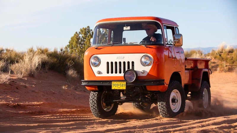 The Jeep FC150 concept being driven through Moab, Utah.