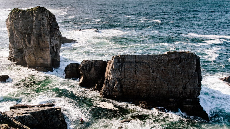 Iain Miller approaching Ber Stack (far right), one of many climbs on the Donegal coast.