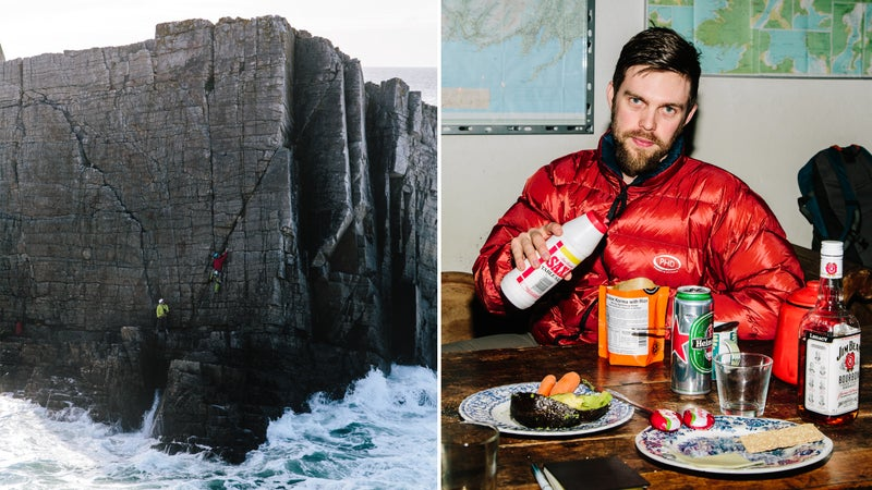 Left: Miller and Morkel on Berg Stack. Right: Morkel after scaling it.