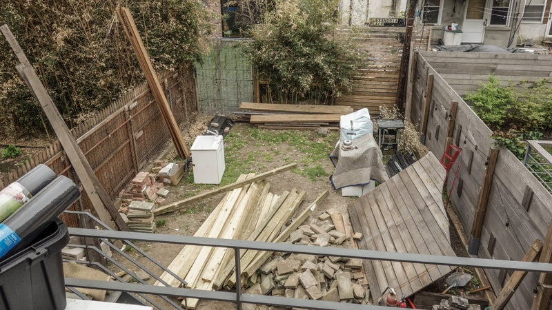 Before. We'll be installing a deck, bluestone patio, built-in bench/planters, welding more planters out of coreten, and even building a built-in outdoor kitchen complete with Big Green Egg. Want to read about some of the skills doing this stuff yourself takes?