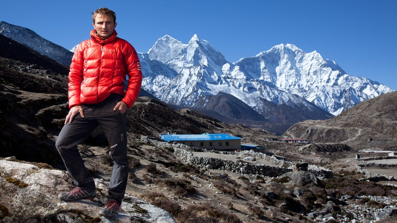 Ueli Steck at the base of Everest in April 2012.