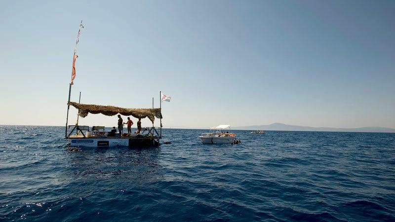 The diving flotilla near Kalamata, Greece.